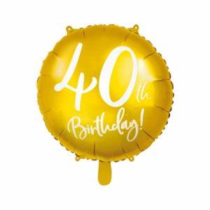 złoty balon foliowy okrągły z białą cyfrą 40, złote dekoracje na imprezę 40 stkę, dekoracje balonowe, balony urodzinowe, balony na 40stkę