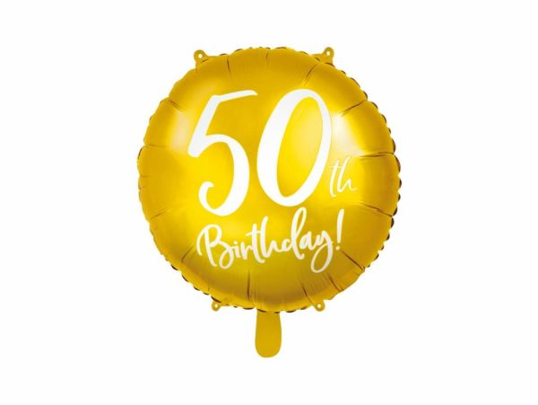 złoty balon foliowy okrągły z białą cyfrą 50, balony na 50stkę, złote dekoracje na imprezę 50 stkę, dekoracje balonowe, balony urodzinowe,-001