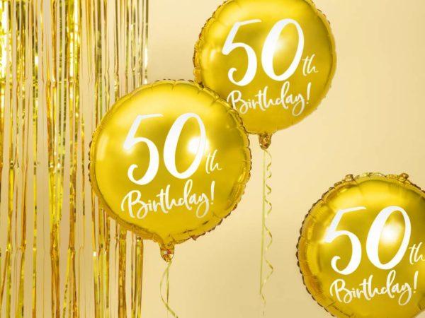 złoty balon foliowy okrągły z białą cyfrą 50, złote dekoracje na imprezę 50 stkę, balony na 50stkę, dekoracje balonowe, balony urodzinowe,