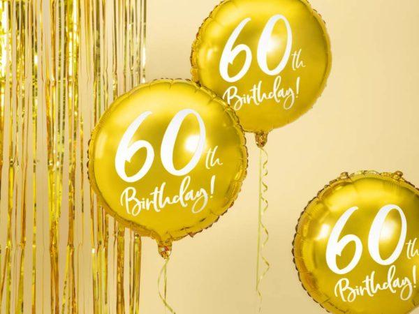 złoty balon foliowy okrągły z białą cyfrą 60, balony na 60stkę, złote dekoracje na imprezę 60 stkę, dekoracje balonowe, balony urodzinowe,