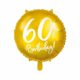 złoty balon foliowy okrągły z białą cyfrą 60, złote dekoracje na imprezę 60 stkę, balony na 60stkę, dekoracje balonowe, balony urodzinowe,