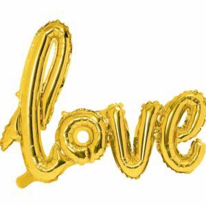 złoty balon napis love, dekoracje złote na imprezę, balon napis foliowy love, złote balony ślubne napisy, balony na imprezy,