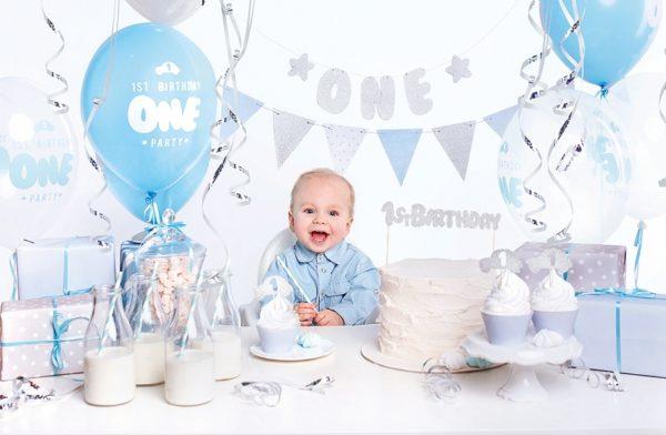 zestaw dekoracji na roczek dla chłopca, dekoracje na roczek dla chłopca, niebieskie dekoracje na roczek