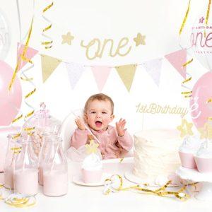 zestaw dekoracji na roczek dla dziewczynki, dekoracje na roczek dla dziewczynki, różowe dekorace na roczek