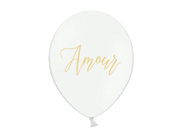 balon biały ze złotym nadrukiem Amour, balony na ślub, balony z helem na wesele
