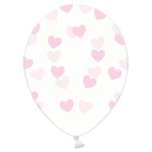 balon transparentny w jasno różowe serduszka, przezroczysty balon w różowe serduszka, dekoracje jasny róż