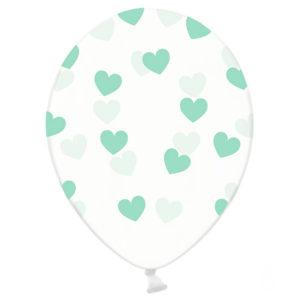 balony przezroczyste w serduszka, transparentne balony crystal w miętowe serduszka, dekoracje urodzinowe i weselne miętowe