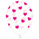 balony przezroczyste w serduszka, transparentne balony crystal w ciemno różowe serduszka