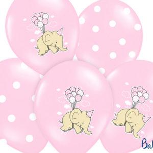 balony różowe ze słonikiem, balony na Roczek, balony z helem dla malucha, Chrzciny, urodzinki