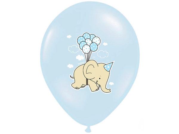 balony z helem dla malucha, balony błękitne ze słonikiem, balony na Roczek, Chrzciny, urodzinki
