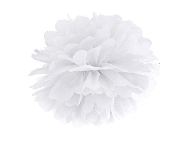 biały pompon z bibuły 35 cm, biały pompon z papieru, dekoracyjny pompon z bibuły, białe dekoracje na imprezę