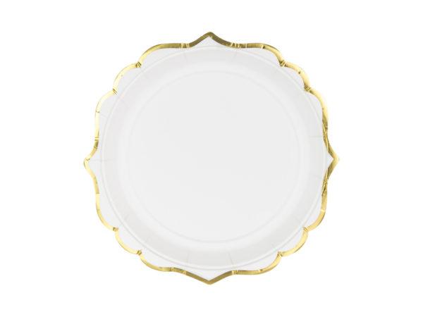 talerze Glamour, dekoracje Candy Bar, talerzyki białe ze złotym brzegiem, ozdobne talerzyki papierowe,
