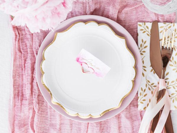 talerzyki białe ze złotym brzegiem, talerze Glamour, ozdobne talerzyki papierowe