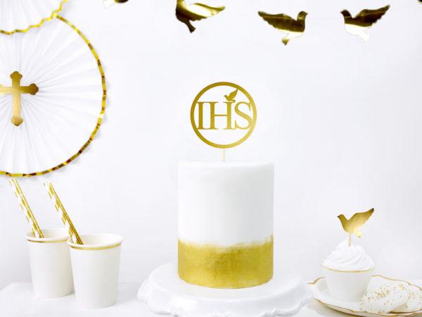 topper na tort I Komunia Św., topper na tort IHS, złoty topper komunijny na tort, złoty topper na tort komunijny