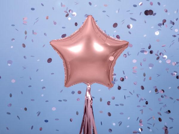 balon foliowy gwiazdka różowe złoto, balon na hel, balon gwiazdka helowy golden rose