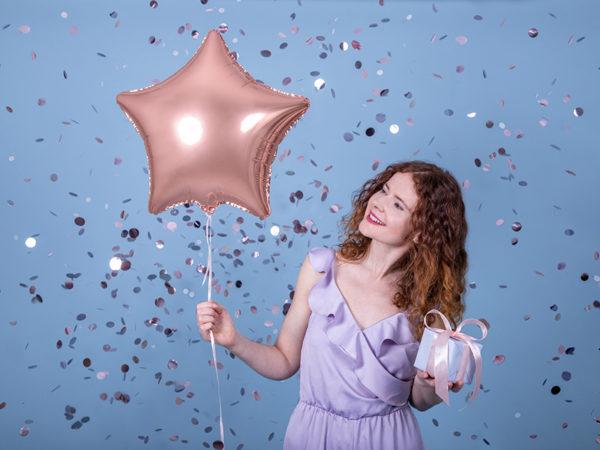 balon gwiazdka helowy golden rose, balon foliowy gwiazdka różowe złoto, 48 cm, balon na hel