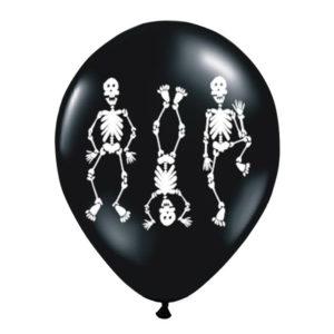 balony czarne z kościotrupem na Halloween