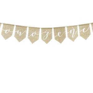 baner jutowy Nowożeńcy, dekoracje juty, baner rustykalny Nowożeńcy