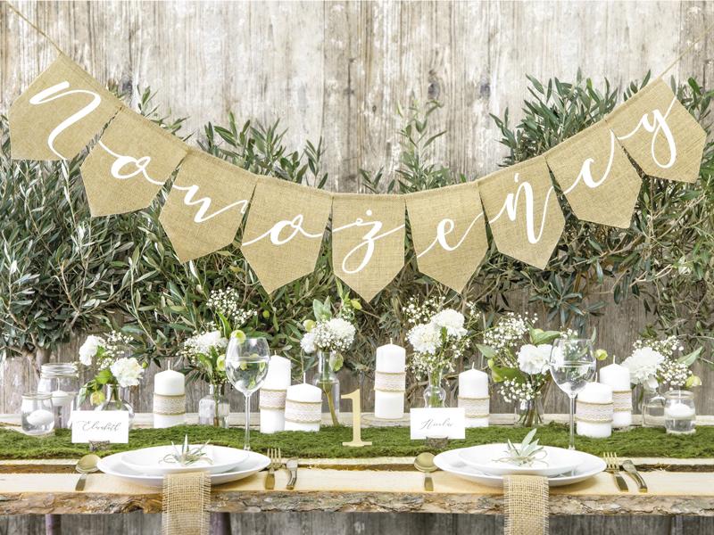 baner jutowy Nowożeńcy, dekoracje z juty, baner rustykalny Nowożeńcy, jutowe dekoracje na wesele, jutowe dekoracje na ślub