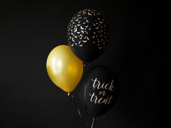 czarny balon w złote nietoperze, balony na halloween, dekoracje na halloween