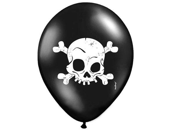 czarny balon z czaszką na Halloween