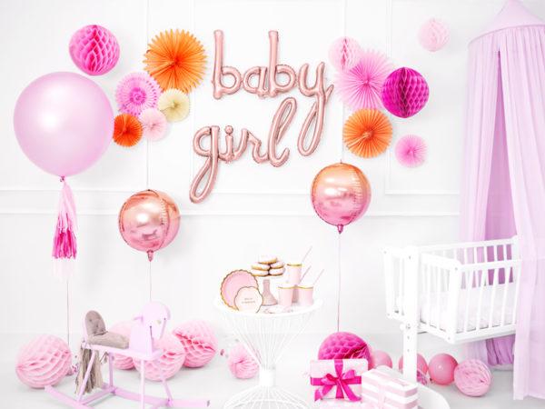 dekoracje baby shower, baby shower decoration, paper rosettes powder pink, rozety papierowe pudrowy róż, papierowe dekoracje na imprezy, akcesoria na przyjęcia