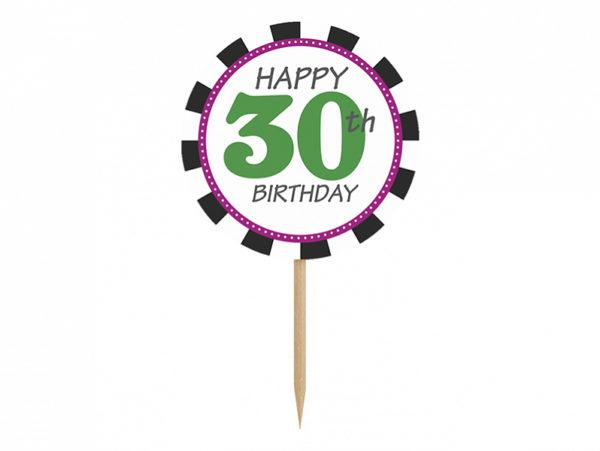 dekoracje na 30stkę, toppery do muffinek, dekoracje do muffinek, dekoracje cupcake na 30stkę,