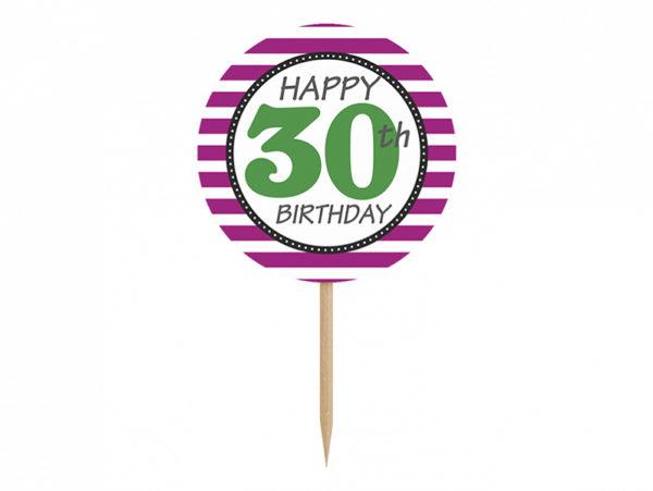 dekoracje na 30stkę, toppery do muffinek, dekoracje do muffinek, dekoracje cupcake na 30stkę, dodatki imprezowe