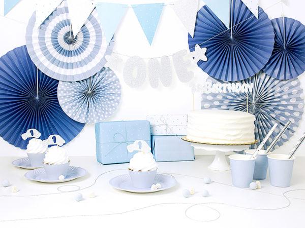 dekoracje urodzinowe błękitno srebrne, girlanda na roczek, girlanda urodzinowa, girlanda urodzinowa błękitno srebrna,