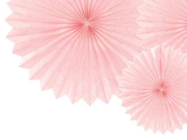 dekoracje urodzinowe pudrowy róż, paper rosettes powder pink, rozety papierowe pudrowy róż, papierowe dekoracje na imprezy, akcesoria na przyjęcia