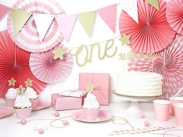 dekoracje urodzinowe różowo złote, girlanda na roczek, girlanda urodzinowa, girlanda urodzinowa różowo złota,