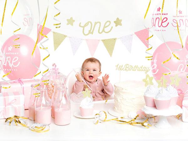 dekoracje urodzinowe różowo złote, girlanda na roczek różowo złota, girlanda urodzinowa, girlanda urodzinowa różowo złota,