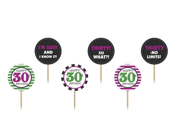 dekoracjena 30stkę, toppery do muffinek, dekoracje do muffinek, dekoracje cupcake na 30stkę,