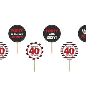 dekoracje na 40stkę, toppery do muffinek, dekoracje do muffinek, dekoracje cupcake na 40stkę,
