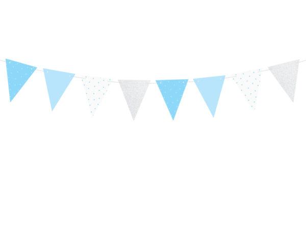 girlanda na roczek, girlanda urodzinowa, girlanda urodzinowa błękitno srebrna