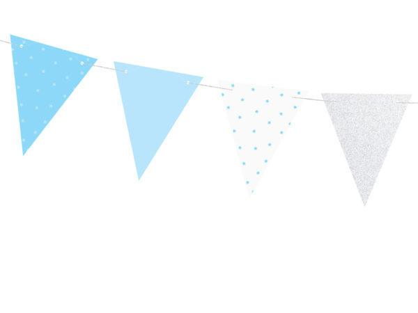 girlanda na roczek, girlanda urodzinowa, girlanda urodzinowa błękitno srebrna, dekoracje urodzinowe