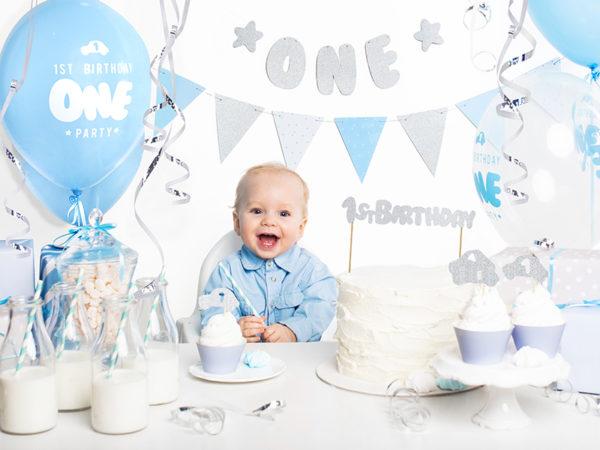 girlanda na roczek, girlanda urodzinowa, girlanda urodzinowa błękitno srebrna, dekoracje urodzinowe błękitno srebrne