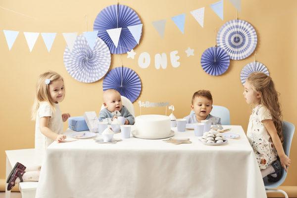 girlanda urodzinowa, dekoracje urodzinowe błękitno srebrne, girlanda na roczek, girlanda urodzinowa błękitno srebrna,