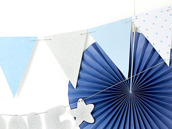 girlanda urodzinowa błękitno srebrna, dekoracje urodzinowe błękitno srebrne, girlanda na roczek, girlanda urodzinowa,