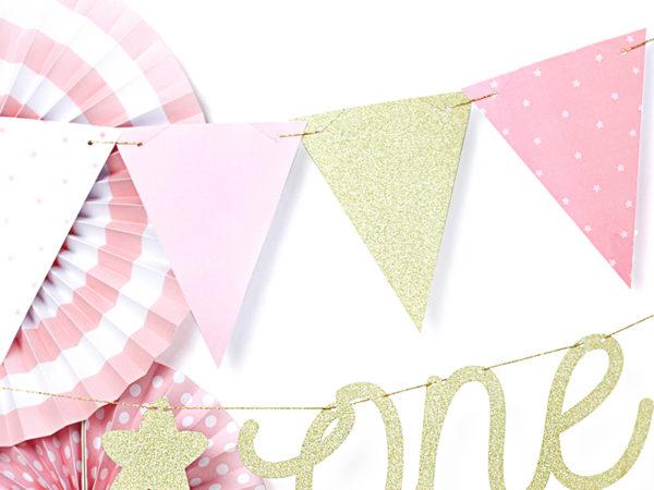 girlanda urodzinowa różowo złota, dekoracje urodzinowe różowo złote, girlanda na roczek, girlanda urodzinowa,