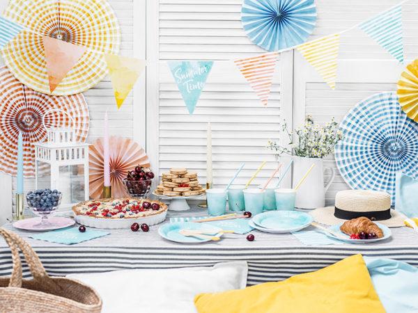 rozety papierowe odcienie pastelowe, papierowe dekoracje na imprezy, akcesoria na przyjęcia, dekoracje baby shower, baby shower pastels decoration, paper rosettes pastele,