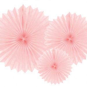 rozety papierowe pudrowy róż, papierowe dekoracje na imprezy, akcesoria na przyjęcia