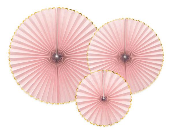 rozety papierowe pudrowy róż ze złotym brzegiem, papierowe dekoracje na imprezy, akcesoria na przyjęcia