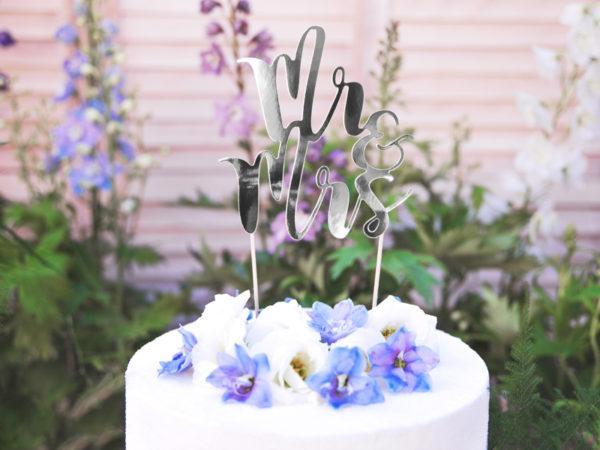 srebrny topper na tort weselny, srebrne dekoracje na tort weselny, srebrne dekoracje na candy-bar