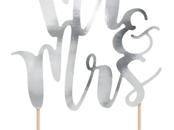 topper na tort weselny, srebrne dekoracje na tort weselny, srebrne dekoracje na candy-bar