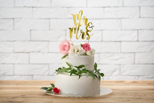 złoty topper na tort weselny, dekoracje na tort weselny, dekoracje na candy-bar