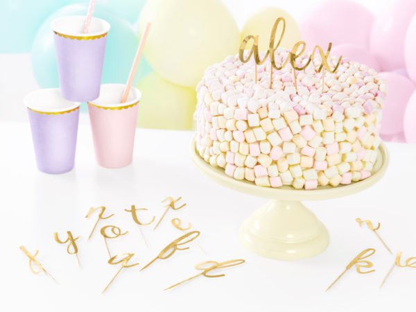 literki na tort, pikery alfabet, dekoracje na tort, dekoracje candy bar, dekoracje urodzinowe, alfabet na tort