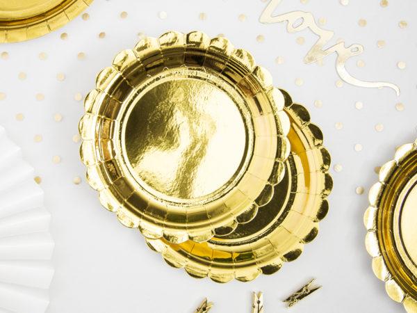 talerzyki imprezowe złote, talerzyki jednorazowe złote, złote talerzyki na imprezę,