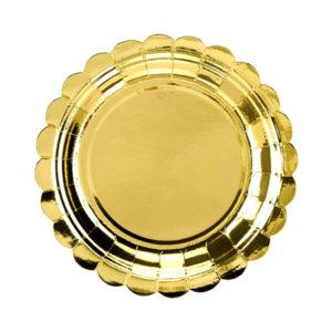 talerzyki jednorazowe złote, złote talerzyki na imprezę, talerzyki imprezowe złote