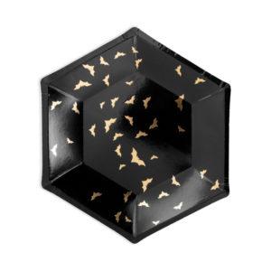 czarny talerzyk w złote nietoperze na halloween, czarne talerzyki na halloween w nietoperze, talerzyki w nietoperze na halloween